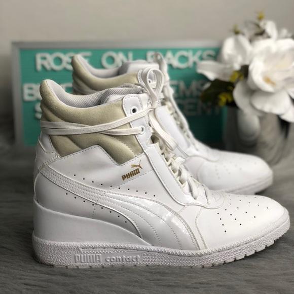 867ea89f787 Puma Advantage Wedge White Hi Top Sneakers Sz 9.5.  M 5b7b2cdb9264af99530872c4